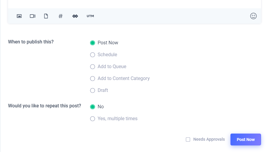 The 4 options for posting the content you want to share on your social media using ContentStudio.