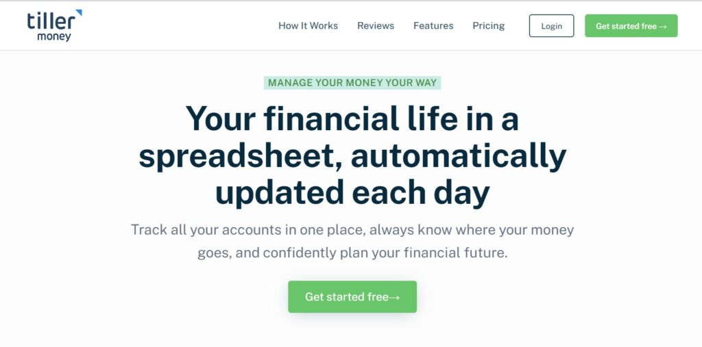 Tiller Money features on our list of best budgeting app for couples