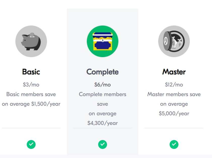 Qapital pricing has 3 main pricing fees: Basic, Complete ,and Master